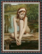 "Hand-painted Original Oil Painting art Portrait nude Girl on canvas 24""x36"""