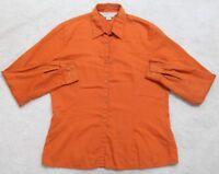 Casual Corner Annex Orange Dress Shirt Long Sleeve Cotton Top Womens Solid Woman