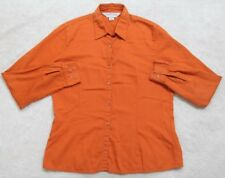 Casual Corner Annex Orange Dress Shirt Long Sleeve Cotton Top Womens Solid Woman