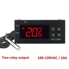 Digital Temperature Controller LED 110V Thermostat Sensor 2 Relay Output
