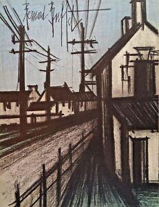BUFFET Bernard (1928-1999) Original Lithographie 1967 : Die Dorfstrasse