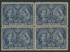Canada 1898 QV Jubilee 5c deep blue block of 4 #54 VF ml/nh
