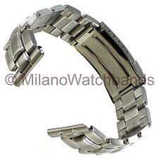 22mm Morellato Stainless Steel Semi-Solid Link Fold Over Clasp Safety Watch Band