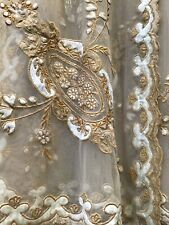 "Hand Embroidered Silk Velvet Sheer Panels 52"" X 110"" New One Piece"
