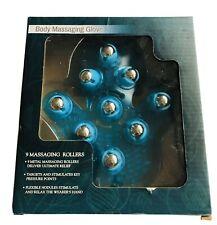 New Body Massage Glove 9 Metal Massaging Roller Balls Target Key Pressure Points