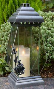 Grablicht 39cm Grablaterne silber Lampe Grableuchte Glas Grabschmuck Kerze