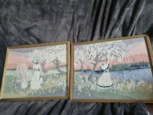 Pair Of Hand Embroidered  Pictures C 37cmw 30 H