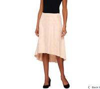 H by Halston Faux Suede Gored Skirt with Hi-Low Hem Porcelain Rose Color Size 16