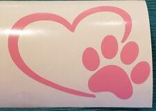 """Handcrafted Pet Love Heart Pink Vinyl Decal Outdoor/Indoor NEW 5"""""""