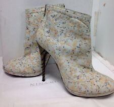 Nina Ricci Short Boot Bone Floral Metal Heel Size 39.5