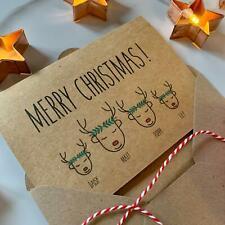 Personalised Family Christmas Cards, Reindeer Wreath, Vintage Rustic Chic Kraft