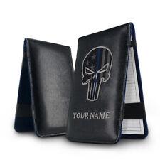 Golf Scorecard Yardage Book Customized Gift Holder Cover Skull Leather Black