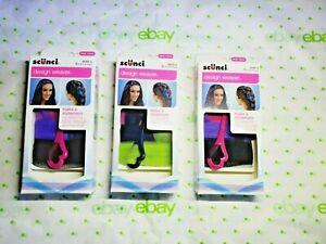 Scunci Design Weaver Set Weave Fabric Through Hair 3 PACKS 2 Purple 1 Green New