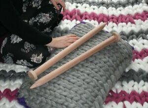 Pair Giant Knitting Needles Large 35 mm diameter 60 cm long for chunky knitting