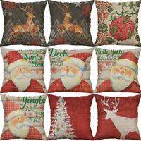 "18"" Printing Christmas Deer Cotton Linen Home Decor Pillow Case Cushion Cover"