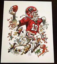 University of Georgia Bulldogs Football 2013 Jack Davis artwork Aaron Murray UGA