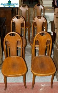 ANTIQUE SET 6 SIX THONET CHAIR CHAIRS ORIGINAL WITH TAG 19 TH C. WOODEN BEECH
