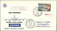 COVER LETTRE 1ER VOL FIRST FLIGHT BOEING AIR FRANCE PARIS ST DENIS REUNION  1967