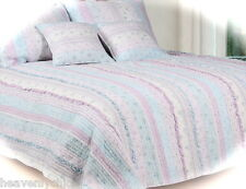 Lavender Blue White Double Queen Bed Patchwork Girl's Quilt Set French Cottage