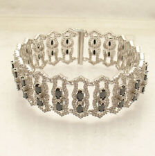 """7.5""""  Wide Black and Clear CZ Tennis Bracelet Real 925 Sterling Silver"""