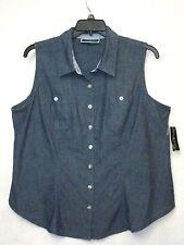 NWT Karen Scott Woman 0X Chambray Shirt Blue Sleeveles Top Blouse NEW Cat Rescue