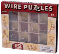 12 WIRE PUZZLES Brain Teaser mind game toy steel metal IQ test magic trick BOX