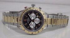 Rotary Watch Two-tone Silver/ Gold Chronograph With Black Leather Strap Gb03429
