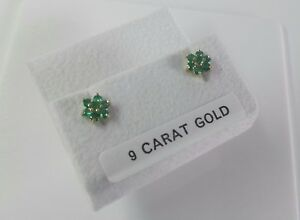 9ct Gold Real Emerald Green Celtic Cluster Stud Earrings.