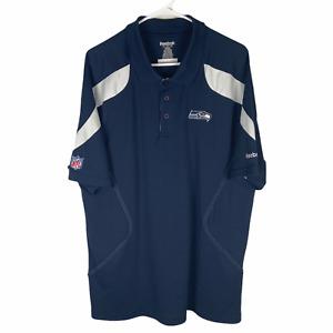 Seattle Seahawks Dri Fit Polo Shirt Men's XL Navy Blue White NFL Team Apparel