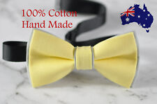 Men Women Baby Yellow and Grey 100% Cotton Hand Made Bowtie Bow Tie Wedding