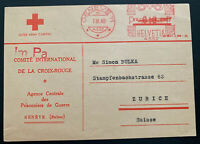 1948 Geneva Switzerland Prisoner Of War Agency Red Cross PC cover to Zurich