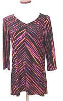 Bob Mackie XS Top Wearable Art Women's Black Red Purple Stripes 3/4 Slinky #P3