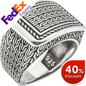 Braided 925 Sterling Silver LUXURY Turkish Handmade Men's Ring All Sizes