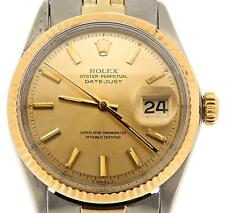 Rolex Datejust Mens 14K Gold & Stainless Steel Champagne Oval Link Jubilee 1601