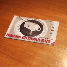 Instructions for MINOLTA AUTOPAK 8 K3 movie SUPER 8 cine 8mm camera 34  pages