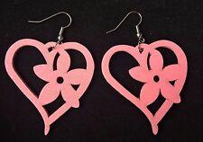 Boho Hippy Gypsy 70s Style Light Pink Flower Heart Wooden Earrings ~ free post