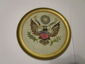 Vintage United States Presidential Seal Embroidered Plastic Framed Ready to hang