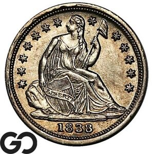 1838 Seated Liberty Half Dime, Small Stars No Drapery, Very Nice Better Date!