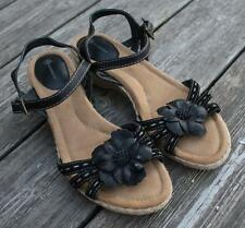 Black Leather Sandals M Strappy 10 Floral Wedge Shoes Giani Bernini Arcadia