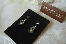 Sorrelli Clear Smoky Grey Crystal Dangle Earrings Swarovski Art Deco Style