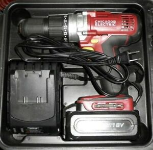 """Chicago Electric 62427 18V 1/2"""" Chuck Cordless Drills Driver 2 Battery 1 Case"""