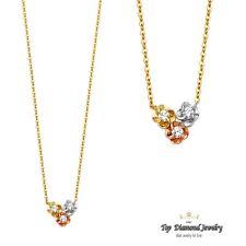 14K Tri Color Solid Gold Cubic Zirconia Triple Flower Pendant Necklace 17inch