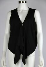 M by Marc Bouwer Womens Black Rayon Draped Front Vest Button Closure Top Medium
