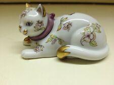 Franklin Mint Curio Cabinet Cat Figurine 1986 Porcelain Satsuma Butterfly Floral
