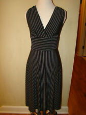 BLACK WHITE PINSTRIPES GANGSTER LOW CUT TIE DRESS WOMENS SIZE X SMALL