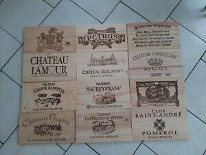 Lot de12 estampes bois façades caisse vin  dont Petrus