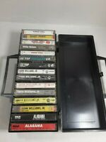 Lot of 15 Classic Country Cassette Tapes with Black Carry Case Hank Jr, ZZ Top