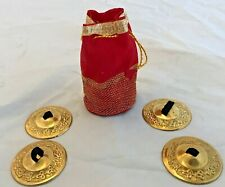 Four (4) Brass Finger Cymbals Chimes with Lovely Red Bag