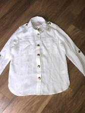Ladies Size 10 Petite River Island White Linen Utility Shirt Bnwt
