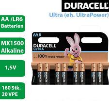 160 x Duracell Ultra Power AA Alkaline Mignon LR6 MX1500 Batterie 1,5V - 20 VPEs